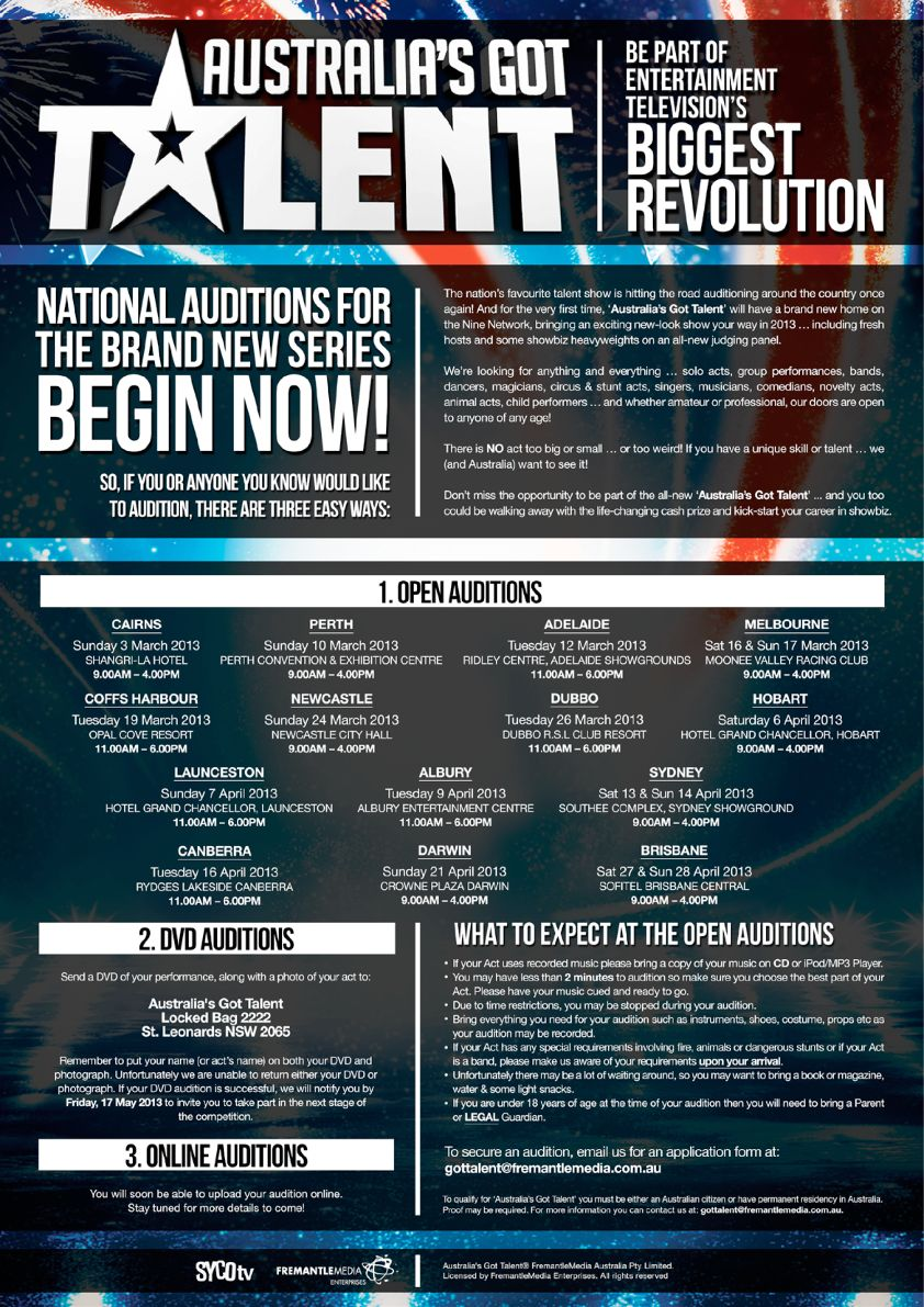 AGT 2013 Open Audition Flyer