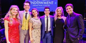 The six finalists - Georgina Hopson, Blake Appelqvist, Hilary Cole, recipient Daniel Assetta, Ashleigh Rubenach and Robert McDougall - on stage at the Rob Guest Endowment Gala 2015, taken at the Lyric Theatre in Sydney, on Monday, 9 November 2015.