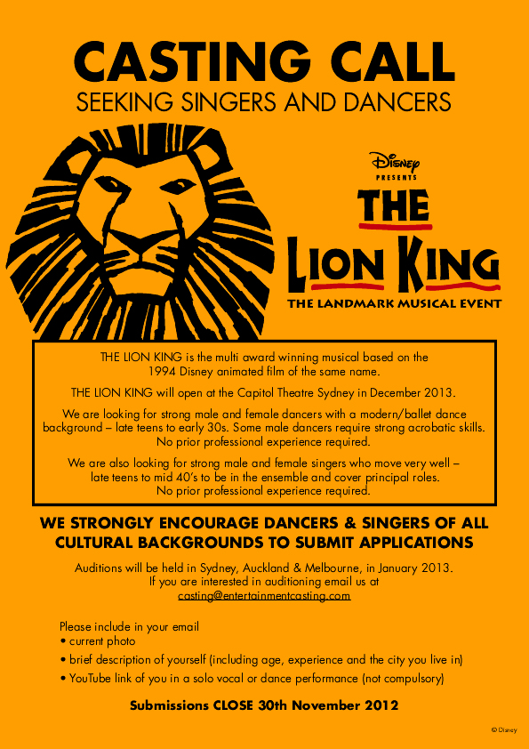 The Lion King Australia Casting Call E-Flyer