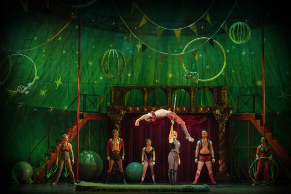 Gabrielle McClindon and acrobats in PIPPIN. Photo by Brian Geach